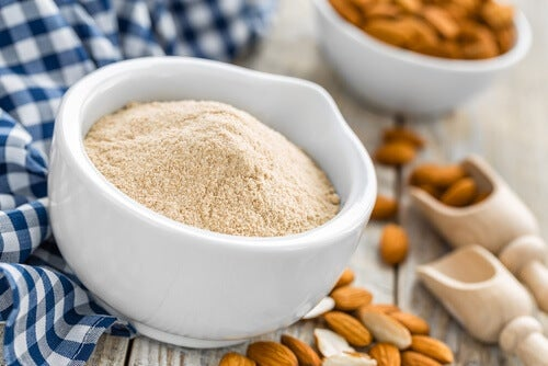 A bowl of almond flour.