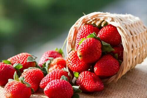 A basket of strawberries.