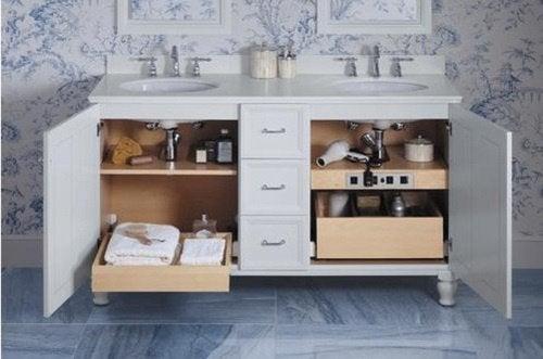 Cupboard under mirror to save bathroom space