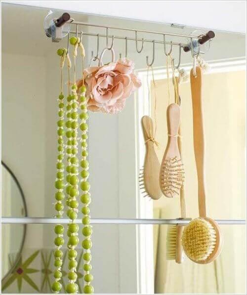 Hooks used to save bathroom space