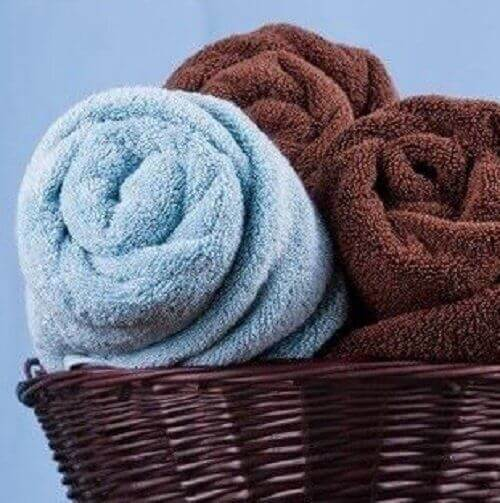Rolled towels that help save bathroom space