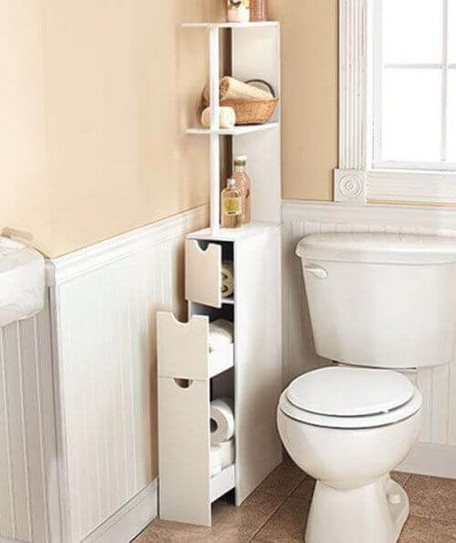 Tips to save bathroom space using shelves