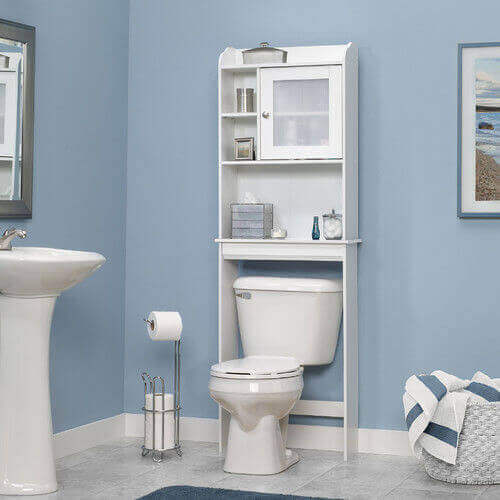 Shelves for storage behind the toilet