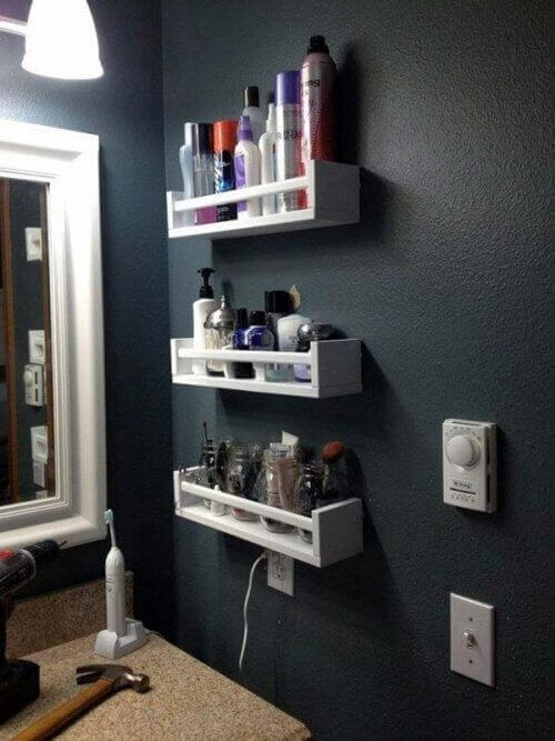 Storage space on a wall in bathroom