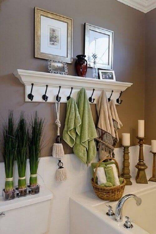 Towel rack used to save bathroom space