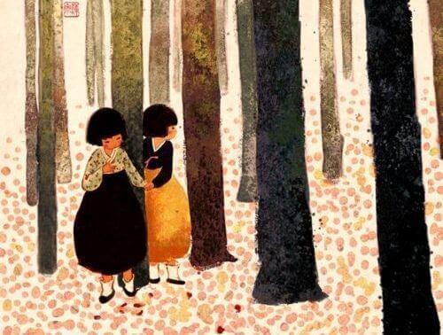 2 children in forest