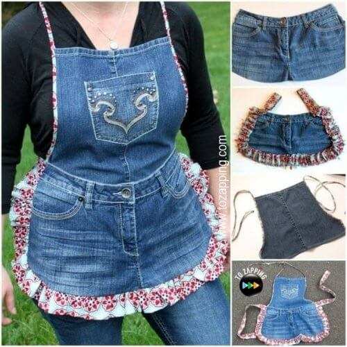 An apron made from old jeans.