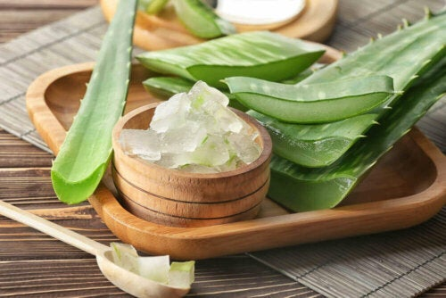 Some chopped aloe vera on a plate.