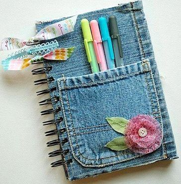 A diary made from old jeans.