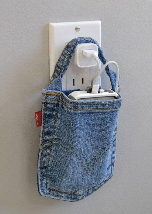 A cell phone holder made from old jeans.