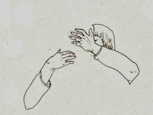 Drawing of a couple hugging outline only of man woman sketched well physical affection