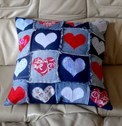 A pillow made from old jeans.