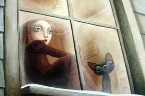 Illustration of sad girl and cat staring out window respectful kids