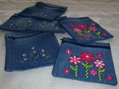 Purses made from old jeans.