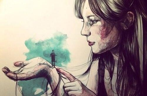 स्त्री के हाथ में पुरुष