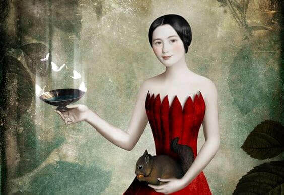 2-woman-with-bird-feeder-and-squirrel
