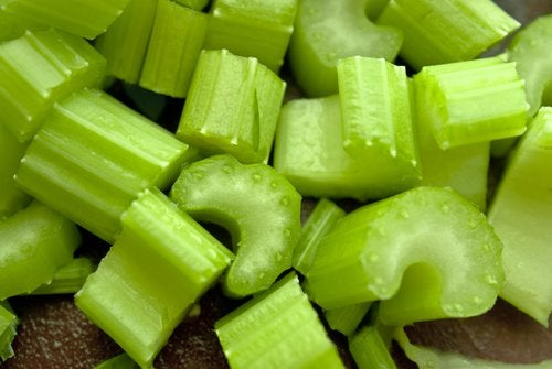 Celery chopped into pieces.