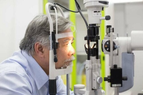 A man getting an exam for vision loss.