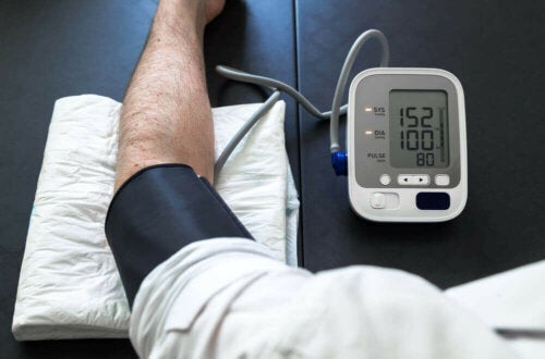 A person getting their blood pressure tested.