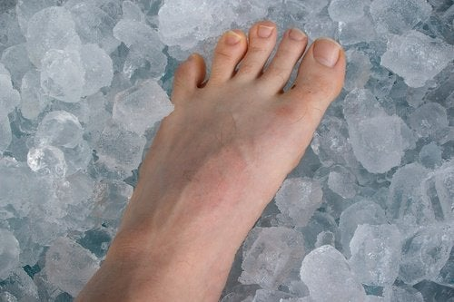 Bare foot on ice