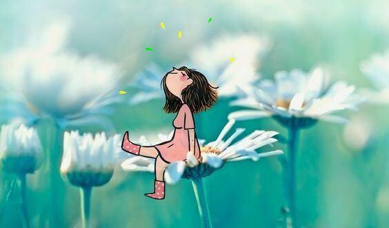 Tyttö kukan päällä
