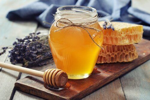 Jar with liquid honey