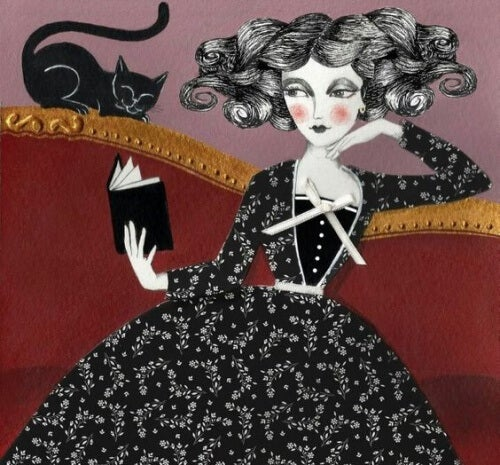Woman with black cat reading a book.