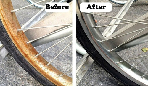 remove rust on bike tire with natural ingredients