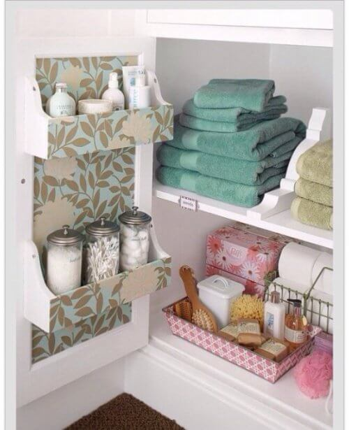Hidden bathroom shelves