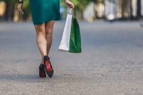 A woman walking in heels.