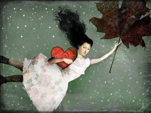 A girl flying with a leaf.