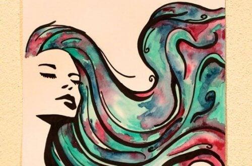 Nainen ja paljon hiuksia