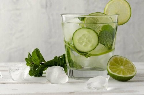 A cucumber-mint-lime drink.
