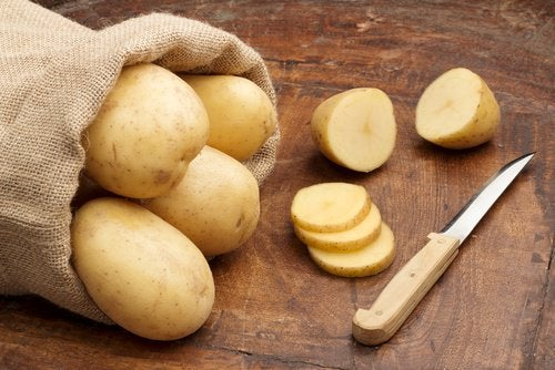Bag of potatoes and slices