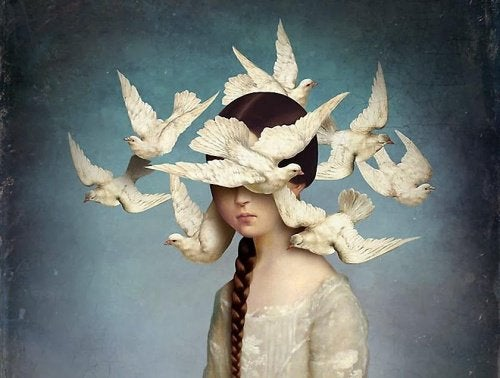 Birds circling a girl's head.