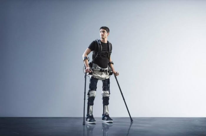 boy walking with an exoskeleton