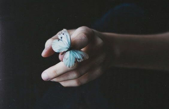 A person with a butterfly on their finger.