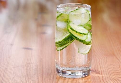 A glass of cucumber water