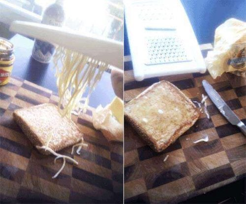 Grate cold butter onto toast