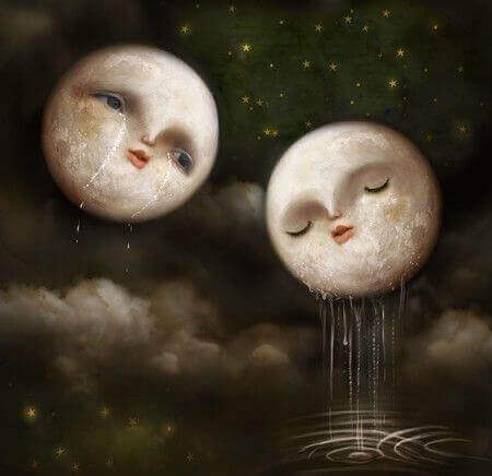 Two moons crying.