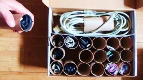 Paper rolls cable storage