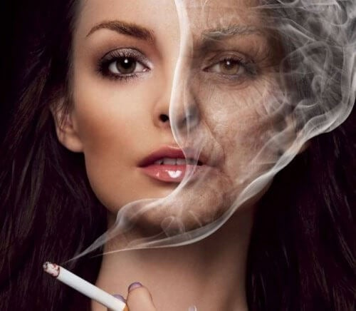 woman smoking and its effects showing on her skin, with wrinkles