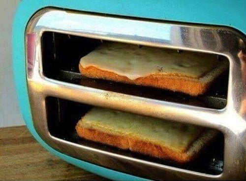 Cheese toast toaster on side
