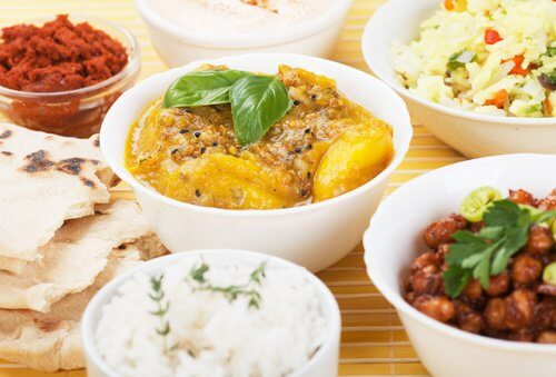 Different indian dishes.