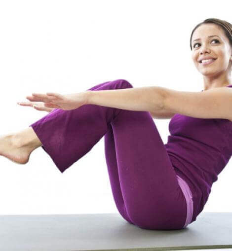 Woman doing crunches.