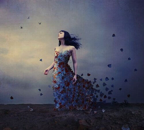 Woman walking drifting slowly with beautiful dress flower petals emotional instability