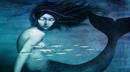 Blue sad mermaid floating in sea with fish emotional instability