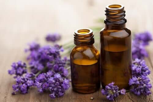 Two bottles of essential oil.