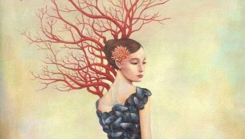 Illustration of roots flowing from woman feel alone