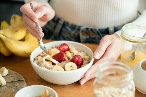 fruit at breakfast; avoid constipation